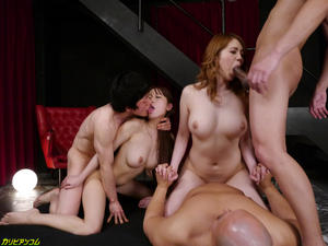 Two Very Hot Japanese Fuck Hard With Three Guy Good Sex.