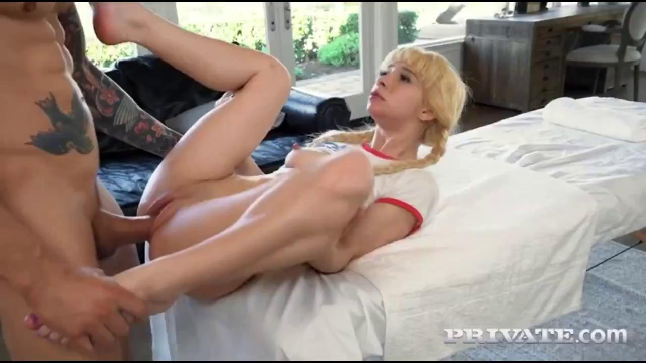 Tiny Blonde Teen Fucks Hard A Thick Cock.